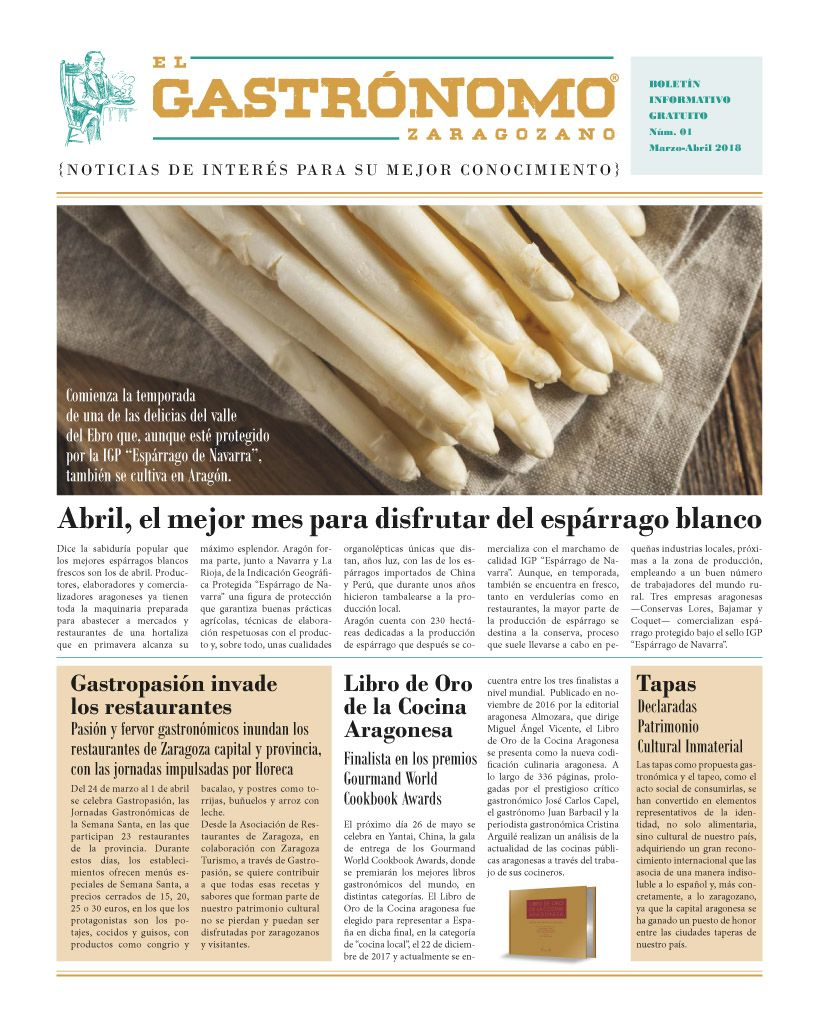 Nace El Gastrónomo Zaragozano, primer periódico gratuito especializado en gastronomía